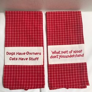 Tablewear Red and White Dog Lover Kitchen Towels